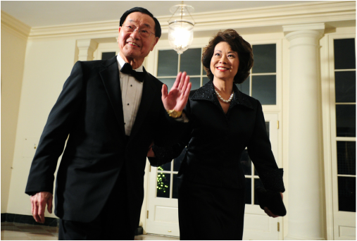 Dr. James S.C. Chao and former US Secretary of Labor, Elaine Chao